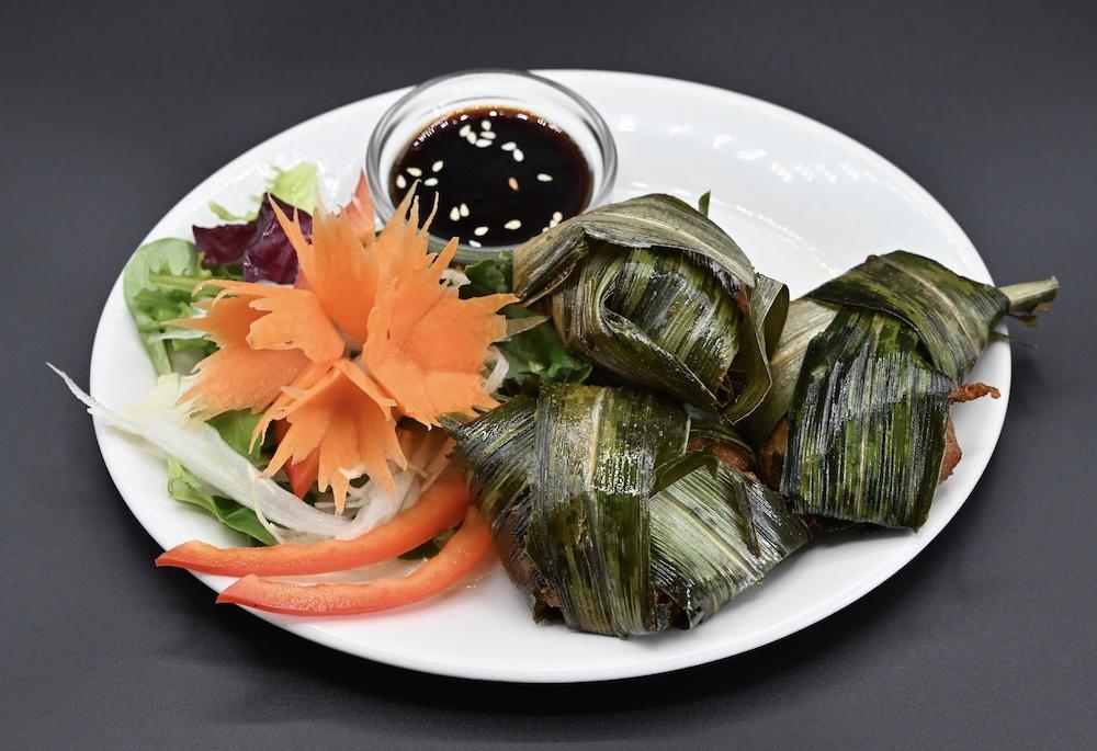 15. Chicken Wrapped in Pandan Leaf (Kai Hoe Bi Touay)